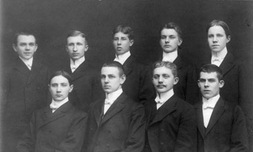 Max Netheim (front left) graduating from high school in 1907