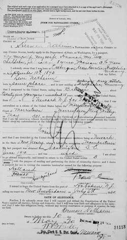 Passport application by Hermann Netheim for himself and his family