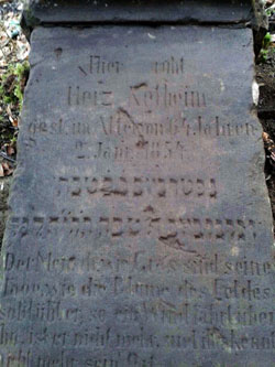 The tombstone of Herz Netheim (1790-1854) in the cemetery at Ottbergen (Photo: Lödige)