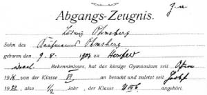 Ludwig Ohmsberg's leaving certificate from the high school in Hersfeld