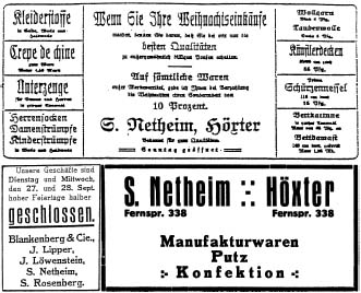 Advertisements from the 1920s for the Netheim business