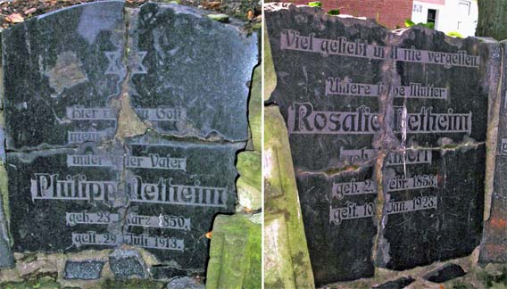 The tombstones of Philipp and Rosalie Netheim, which were smashed in 1944 and have now been put back together in the memorial in Höxter